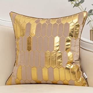Yangest Beige and Gold Geometric Plaid Cushion Case Striped Velvet Square Throw Pillow Cover Modern Luxury Embroidery Pill...