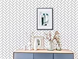 Geometric Wallpaper Peel and Stick Wallpaper 17.7'x197' Black and White Removable Contact Paper Self Adhesive Wall Paper for Girls Room Decoration Wall Covering Waterproof Vinyl Film
