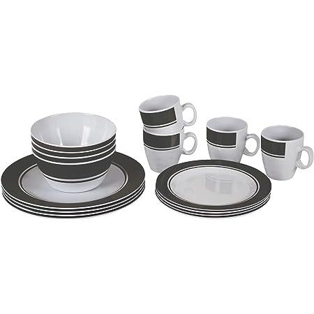 Bo-Camp - Vaisselle - 100% Melamine - 16 pcs - Blanc/Gris