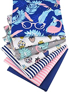 Hanjunzhao Flamingo Strawberry Striped Fat Quarters Fabric Bundles 18 x 22 inches for Sewing Quilting Crafting