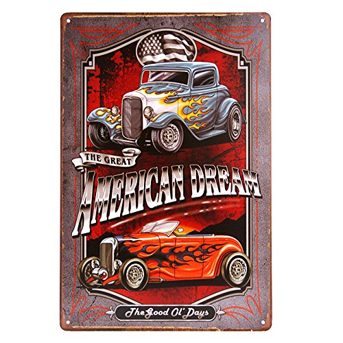 dingleiever- American Dream TIN Sign Hotrod Vintage Car Metal Poster Print Garage Shabby Chic Wall Decor Bar Diner