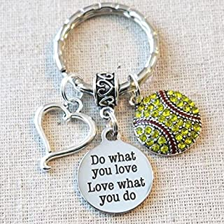SOFTBALL Keychain, Do What You Love - Love What You Do Encouragement Gift, SENIOR Night Softball Gift, Softball Team Coach Gifts