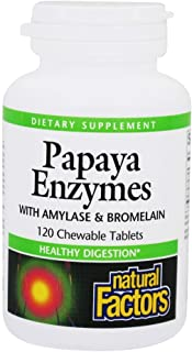 Natural Factors - Papaya Enzymes, Promotes Healthy Digestion, 120 Chewable Tablets