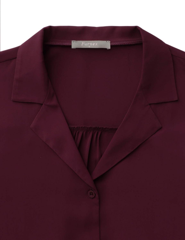 Furnex Womens Casual V Neck Chiffon Blouses 3//4 Sleeve Button Down Shirts Tunic Tops