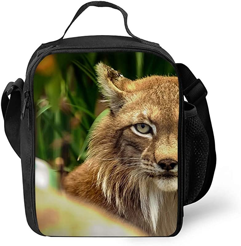 Bobcat Lunch Bags Lunch Boxes Waterproof Outdoor Travel Picnic Lunch Box Bag Tote