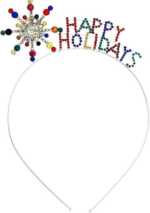 Arsimus Rainbow Rhinestone Christmas Happy Holidays Headband