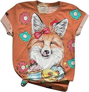 Subfamily Casual T-Shirt da Donna con Stampa Animalier 3D da Donna, Girocollo, Maniche Corte, per t-Shirt Oversize all-Mat...