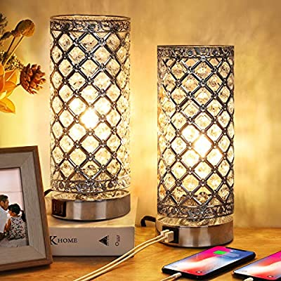 Crystal Touch Control Table Lamp Set of 2, 3-Way Dimmable Bedside Nightstand Desk Lamps with Dual USB Charging Ports, Small Decorative Lampshade Night Light for Bedroom Living Room, LED Bulb Included