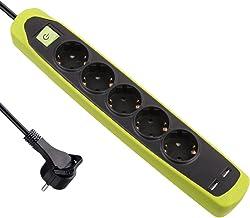Electraline 62158 RubberLine stekkerdoos, 5-voudig met schakelaar, 2 USB 2.1A, kabel 2 m, meervoudige stekkerdoos, tafelco...