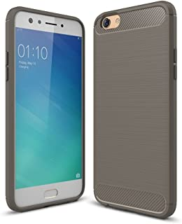 Protect your Phone, OPPO F3 Brushed Texture Carbon Fiber Shockproof TPU Rugged Armor Protective Case (Color : Grey)