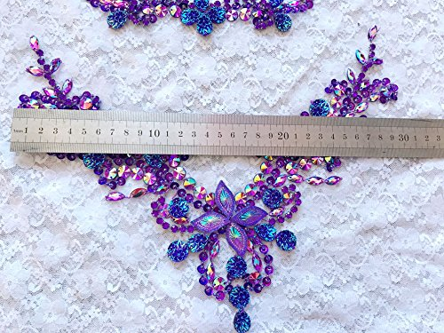 Handmade Crystal Patches Sew on Purple Rhinestones Applique on Mesh Trim for Dress Front and Back 50x30cm