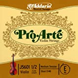 Cuerda individual Mi para violín Pro-Arte de D'Addario, escala 1/2, tensión media (J5601 1/2M)