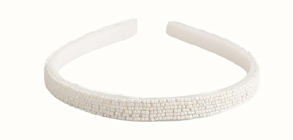 Caravan White Bead Headband of Many Rows Strung And Tied Into A True Classic Piece