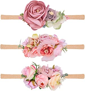 Baby Girl Floral Headbands 3PCS Nylon Elastic Infant Headbands for Newborn Toddler Girls Accessories