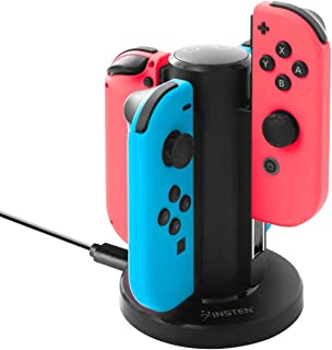 Insten Joy-Con USB Charging Dock Compatible with Nintendo Switch, Insten 4 in 1 Joy-Con Charger Dock Station LED Charging ...
