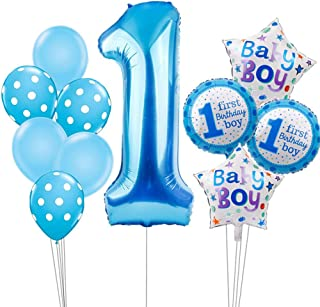 Hongkai 1st Birthday Boy Decoration Set,Baby Boy First Birthday Decoration with Happy Birthday Banner, Number 1 Birthday Blue Latex Foil Balloons for Party Supplies Decoration