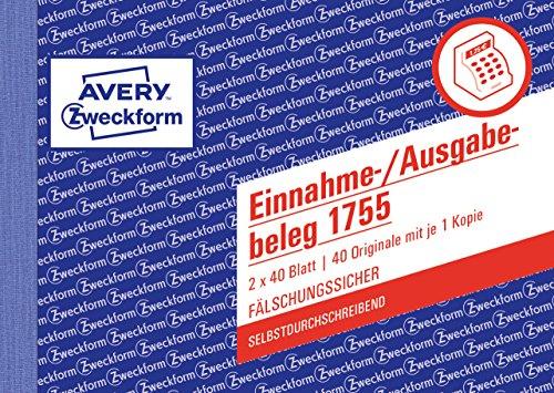 AVERY Zweckform 1755 Einnahme-/Ausgabebeleg (A6 quer, selbstdurchschreibend, von Rechtsexperten geprüft, für Deutschland zur ordnungsgemäßen, kostengünstigen Buchführung, 2x40 Blatt) weiß/gelb