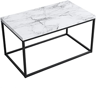 Roomfitters White Marble Print Coffee Table, Upgraded Water Resistant Version, Accent Rectangular Cocktail Table with Black Metal Box Frame