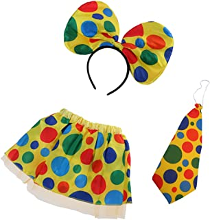 Halloween Polka Dot Clown Circus Circus Skirt Necktie Headband Costume Set Carnival Christmas Women Girls Fancy Dress Props