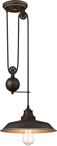 Westinghouse Lighting 6363200 Iron Hill One-Light Pulley Finish with Highlights and Metal Shade Indoor Pendant, 1, Oi...