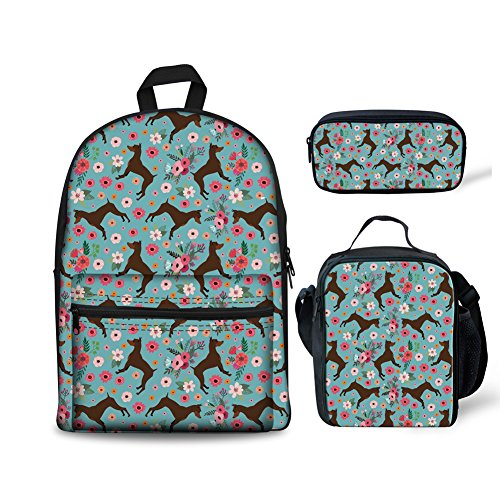 ORGYPET Childern School Bag Bookbag Lunch Box Pencil Bags Boys Girls Teens Backpack Sets 3 Pc Cartoon Danes with Flowers Printed Best Gift for Children