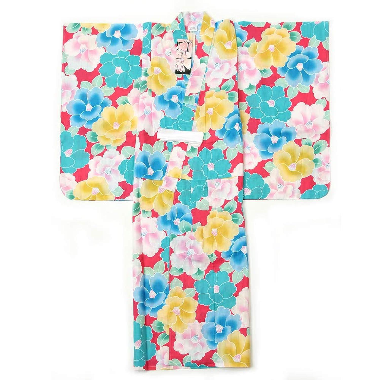 子供浴衣 女の子 130cm 9~10才 単品 ピンク地 椿柄