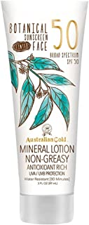 Australian Gold Botanical Sunscreen Tinted Face Mineral Lotion SPF 50, 3 Ounce | Broad..