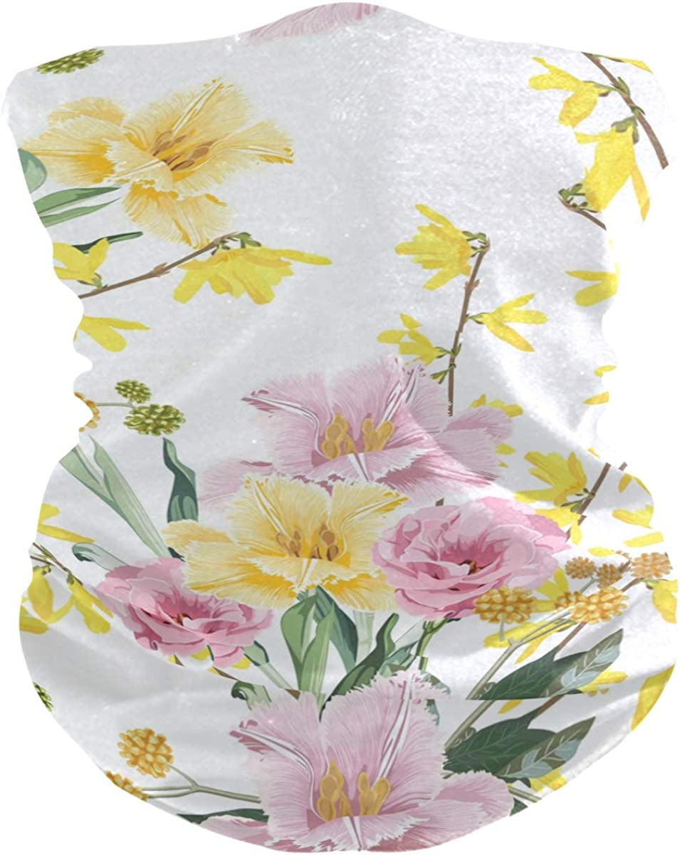 ALAZA Summer Yellow Pink Flower Blossom Headwear Magic Scarf Headband Bandana Neck Gaiters Outdoor Sports for Women Man