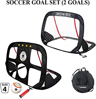 WISHOME Kids Soccer Ball and Goal Set Portable Square...