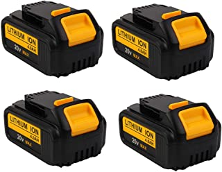 4000mAh 20V DCB204 Battery Replacement for Dewalt 20-Volt MAX XR Batteries DCB205 DCB200 DCB203 DCB206 DCB204BT-2 DCB201 Lithium Ion Cordless Power Tools, 4-Pack