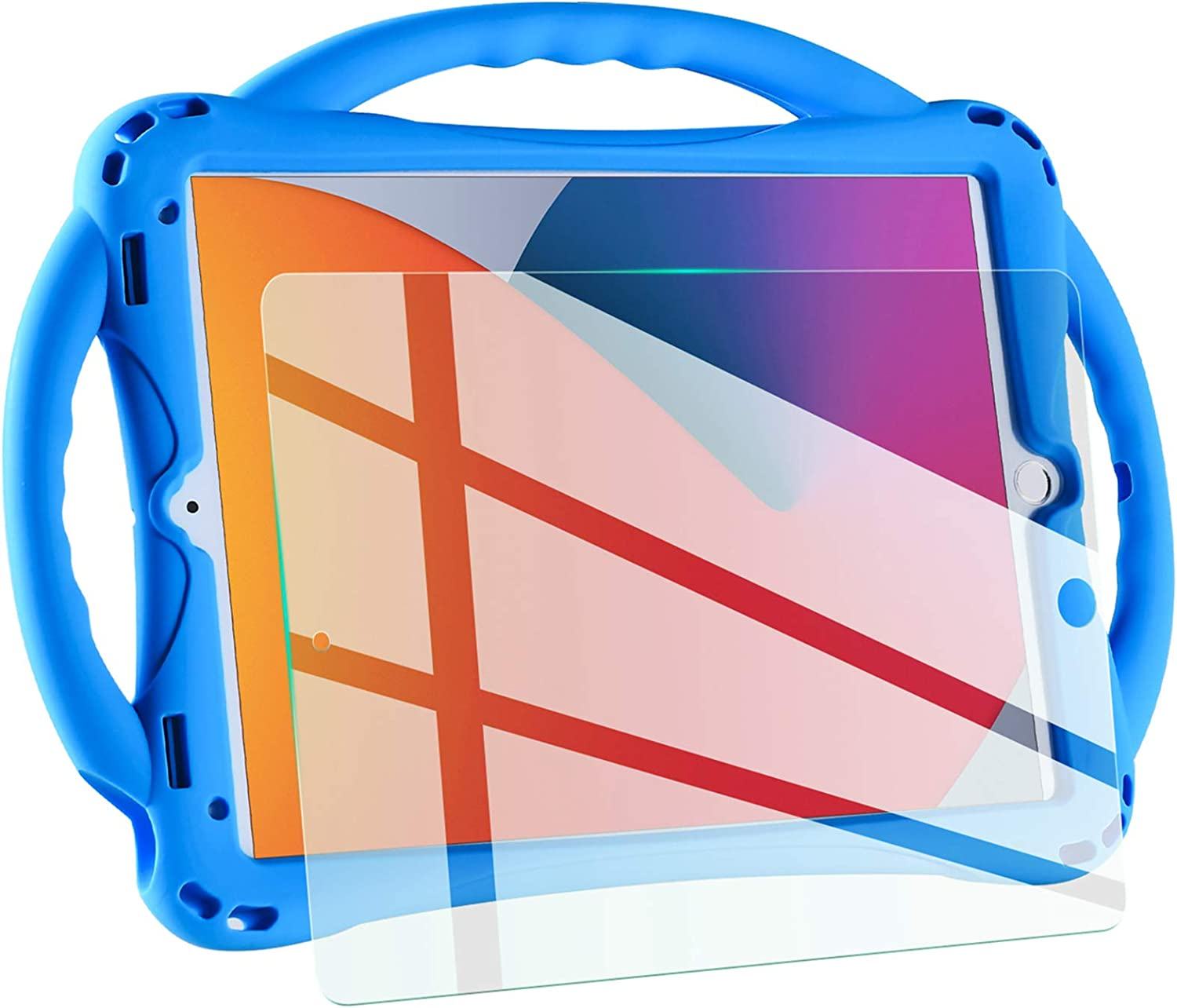 TopEsct kids case for new ipad 10.2 inch 2021 /2020/2019, iPad 9th/8th/7th Generation Case for Kids,with Tempered Glass Screen Protector and Strap,Silicone Shockproof ipad 10.2