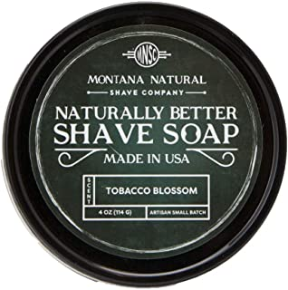 Tobacco Blossom Artisan Small Batch Shave Soap for a Naturally Better Shave, Cruelty Free Vegan Ingredients - Thick Lather to Fight Nicks, Cuts and Razor Burn. Hand Made in USA
