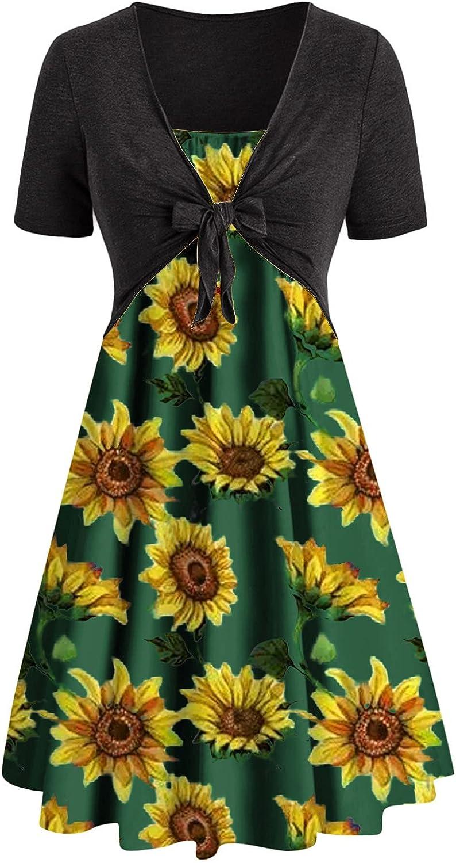 Summer Dresses Woman Casual Solid Tops Bandage Short Sleeve +Print Dress Maxi Dress Sundress Plus Size Beach Sexy wedd
