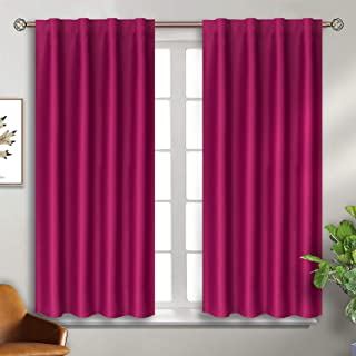 BGment Rod Pocket and Back Tab Blackout Curtains for Bedroom - Thermal Insulated Room Darkening Curtains for Living Room, 2 Window Curtain Panels (38 x 45 Inch, Fuschia)