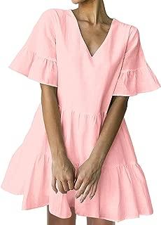 Women's Cute Shift Dress with Pockets Fully Lined Bell Sleeve Ruffle Hem V Neck Loose Swing Tunic Mini Dress