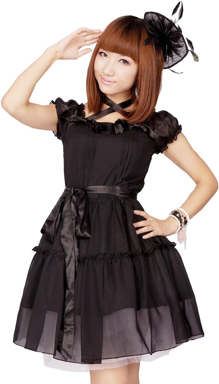 Antaina Black Cotton Ruffle Puff Translucent Gothic Punk Lolita Cosplay Dress