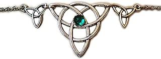 Green Celtic Triple Triquetra Tinity Knot Elven Elf Silver Circlet Headpiece Headdress Crown Rennaissance Medieval Halloween Costume