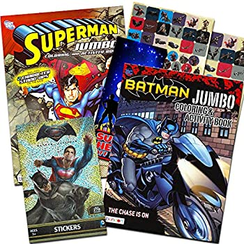 Bendon Publishing DC Comics Batman & Superman Coloring and Activity Book Set - Two 96 -Page Coloring Books Stickers and Superhero Door Hanger