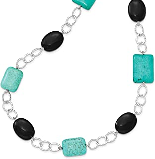 """Lex & Lu Sterling Silver Black Agate & Dyed Blue Howlite Necklace 28"""""""