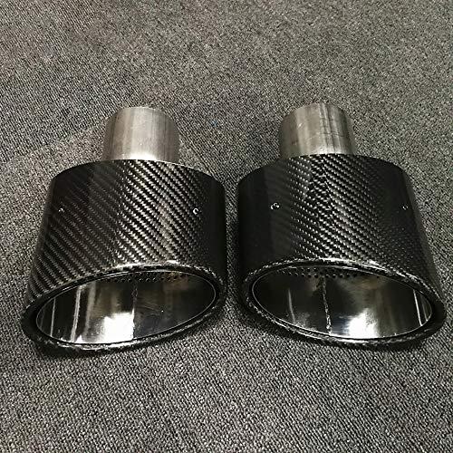 HanT Accessori di scarico per auto 2 pezzi Punte di scarico in fibra di carbonio inclinate ovali Finiture per terminali, per VW Golf 7, per AUDI RS4 RS5 RS6, per VOLVO S80 car styling