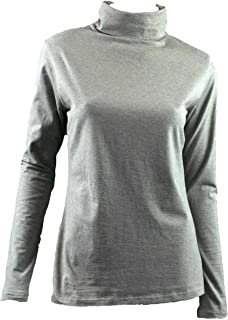 Ladies SKIVVY Womens Long Sleeve Plain Top Skivvies Warm High Neck Cotton Blend