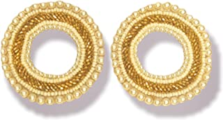 Duchess White Gold Pearl Embroidered Round Cloth/Fabric Earrings