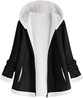 TOTOD Women Hooded Jackets Autumn and Winter Zipper Pocket Outwear Long Sleeve Woolen Warm Hoodie Coats