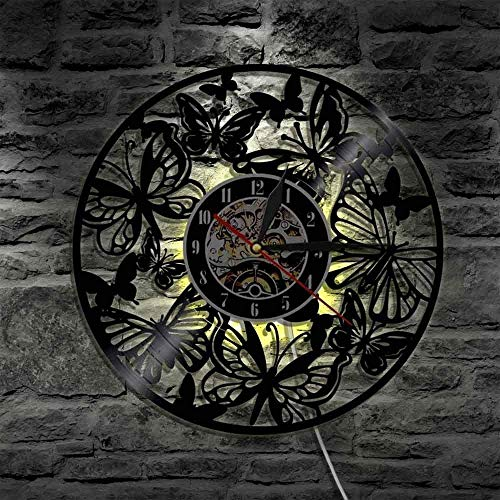 xfshey Wall clock with butterfly motif vinyl motif Lp animals creative clock home decoration vintage style handmade gift decorative clocks