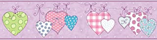 York Wallcoverings YS9158BDSMP Peek-A-Boo Clothesline of Patterned Hearts 8-Inch x 10-Inch Memo Sample Wallpaper-Borders, Lavender/Teal