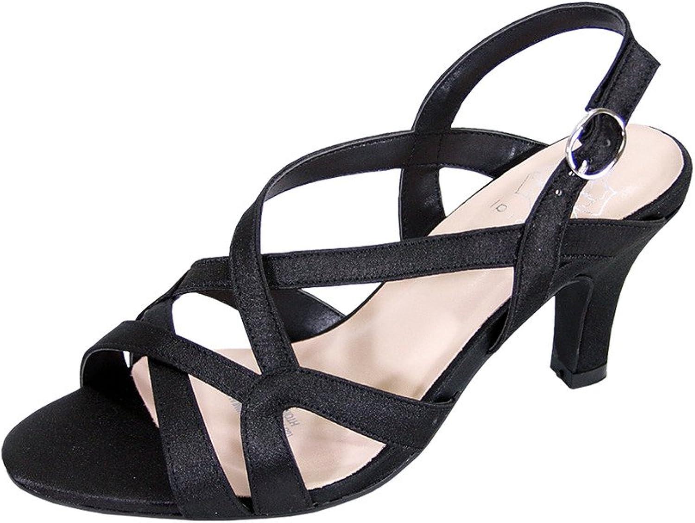 Floral Charlotte Women Wide Width Criss-Cross Strappy Opentoe Dressy Slingback Sandals (Size Measurement)
