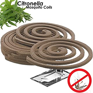 Citronella Mosquito Repellent Coils - Outdoor Use Reaches Up to 10 feet - Each Coil Burns for 5-7 Hours (Twelve Pack Contains 48 coils & 24 Coil Stands)