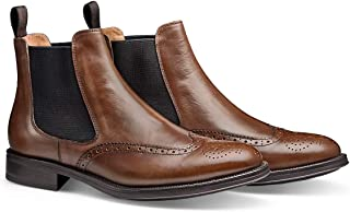 MORAL CODE The Maxwell: Premuim Men's Leather Brogued Wingtip Chelsea Dress Boot