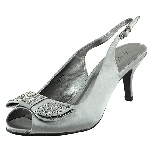 c38e15627a50 Kick Footwear Womens Ladies Low Satin Stiletto Heel Shoes