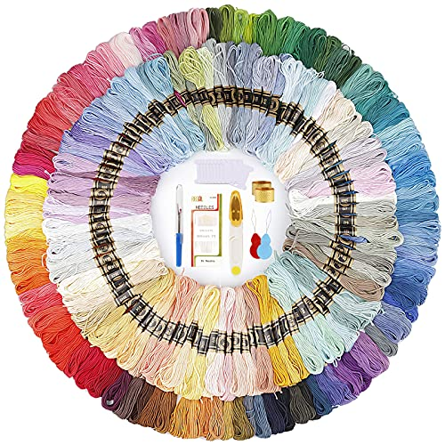 200 Colores Bordado Hilos de Aleatorio Colores Algodón Bordado Kit con 10...